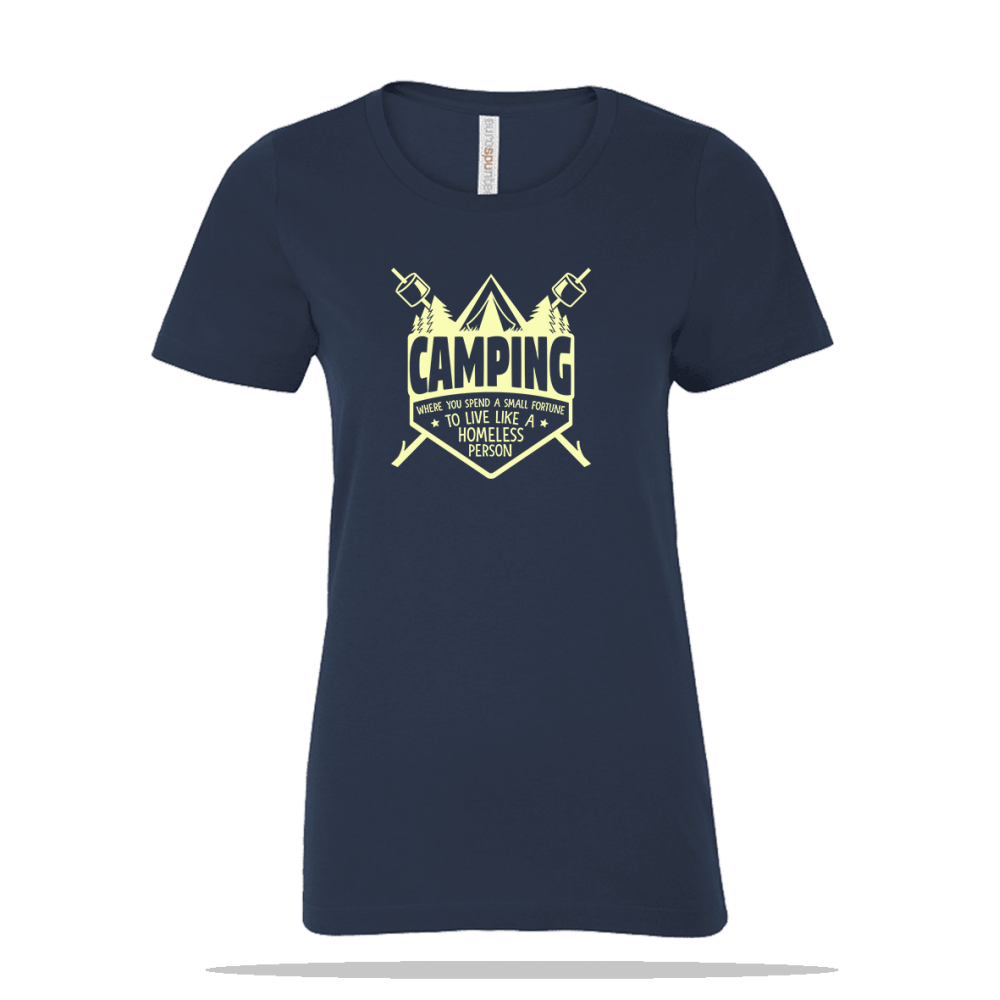 Camping Homeless Person Ladies Tee