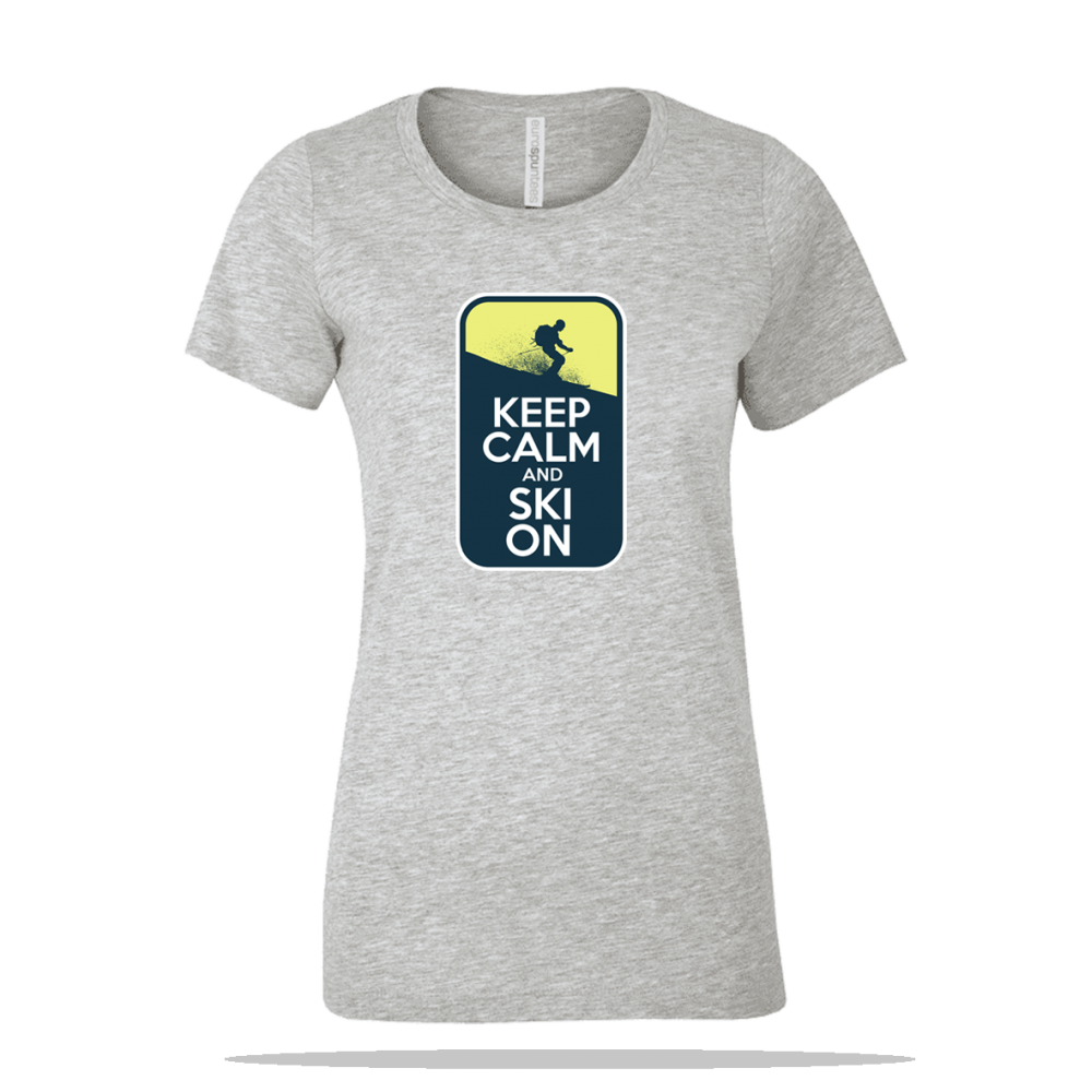 Keep Calm Ski On Ladies Tee
