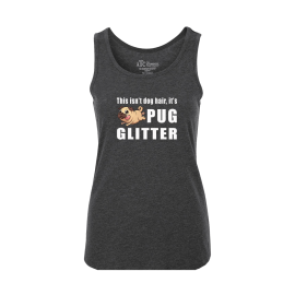 Pug Glitter Ladies Tank Top