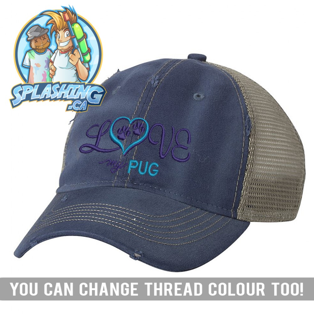 Love My Pug Custom Distressed Cap